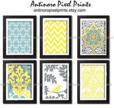 Digital+Print+Wall+Art+Yellow+turquoise+by+antinoropixelprints,+$55.00