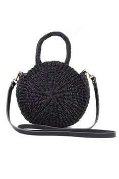 "Reminiscent of circular vintage luggage, Clare Vivier's petite Alice tote features a sisal weave paired pronounced edges, giving the bag a beautiful shape and structure that is refreshingly modern. Paired with beautiful black woven handles and a long black veg leather strap, this neutral is striking and utterly wearable no matter the season.  Dimensions: 8"" Diameter, 3""Wide, 43"" Removable Shoulder Strap, 4"" Handle Drop"