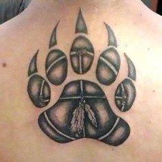Couples Design of Locked Heart and Key Tattoo Design Paw Print Art, Bear Paw Print, Claw Tattoo, Mark Tattoo, Badass Tattoos, Body Art Tattoos, Tatoos, Native American Tattoos, Native Tattoos