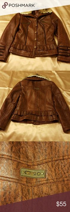 Yilinaier Stylish Foux leather Jacket  size L . Beautiful brown jacket with extra removable   fur neck piece. 6 buttons to button up also buttons on details on both sleeves the zippers on the chest they are only style details.this jacket would be great for winter. Yizinaier  Jackets & Coats Blazers