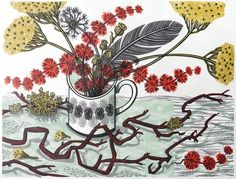Angie Lewin - The Twisted Stem - linocut