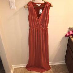 Orange/Rust maxi dress w/gold studding detail Burnt Orange Bridesmaid Dresses, Rust Color, Forever 21 Dresses, Dress Making, Chiffon, Detail, Formal Dresses, Fashion, Silk Fabric