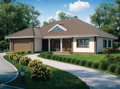 Energy Efficient One Story Modern Home Design - Pinoy House Designs Village House Design, Village Houses, Modern House Plans, Modern House Design, Style At Home, Two Car Garage, Design Case, Home Fashion, Architecture Design