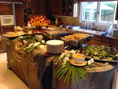 Luau or Tiki Party Table Buffet Decoration Buffet, Party Decoration, Luau Decorations, Luau Centerpieces, Centerpiece Ideas, Hawaiian Luau Party, Hawaiian Theme, Adult Luau Party, Luau Food