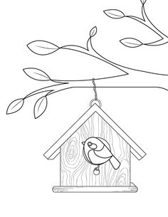 free bird house coloring pages | Bird Perched on Birdhouse Free Printable Coloring Page ...