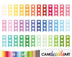 50 Flag Checklist Clipart, Heart Check List, Task Reminder, To Do List, Rainbow Checklist, Planner Clipart, Sticker Clipart, png file by CamDoodleArt on Etsy