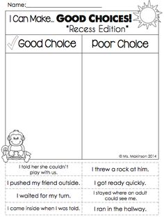 """Back to School Printables - First Grade Literacy and Math. """"I Can Make Good Choices"""" Recess Edition!"""