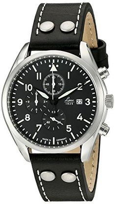 ad55e694df6 Laco 1925 Quartz Stainless Steel and Black Leather Casual Watch (Model   861915)