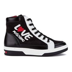 Love Moschino Women's LOVE Hi-Top Trainers - Black Multi ($185) ❤ liked on Polyvore featuring shoes, sneakers, black multi, black shoes, lace up sneakers, high top shoes, leather high tops and black leather sneakers