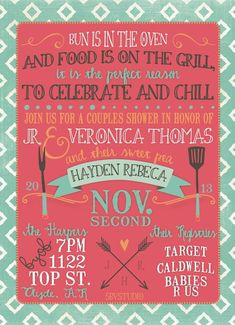 Couples Baby Shower invitation- BBQ, Modern, Girl or Boy, DIgital on Etsy, $18.00