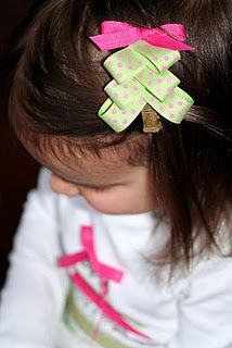Christmas Tree Hair Bow,4 my Ali..thank goodness I learned how to make hair bows!