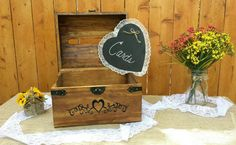 Rustic Wooden Wedding Card Chest With Card by CraftyWitchesDecor
