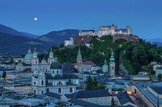 Salzburg city with Hohensalzburg Fortress, Salzburger Land, Austria by Elena Duvernay Travel Around Europe, Austria Travel, Famous Places, Aerial View, Travel Photos, Fine Art America, Photo Art, Yard, City
