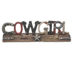 Amazon.com - Western Cowgirl Decor Sign Accented with Horseshoes, Ropes and Stars