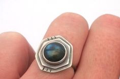 Sterling Silver and Labradorite Ring Polygon ring by ErinAustin