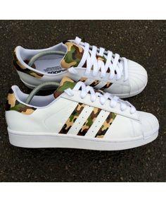 online retailer fce51 6cada Chaussures Adidas Superstar Camo Marron Dark Vert Fonce Adidas Superstar  Femme, Chaussure, Adidas Superstar