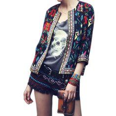 Mulheres primavera outono Outerwear mulheres Vintage étnico Floral jaqueta curta casaco fino HB88 em Jaquetas Básicas de Roupas e Acessórios no AliExpress.com | Alibaba Group