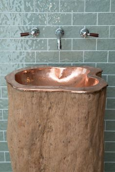 Copper-lined Tree Trunk Basin joins Indigenous' Bathroom Collection