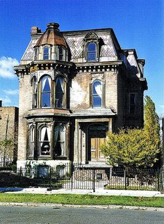 John P. Fiske House. Edmund Place, Detroit Michigan. Example of Victorian Mansion found in the Brush Park neighborhood.