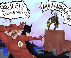 """HAHAHAHAhahaha....    It's cute how the babies match their """"fathers""""  Robin is as cool as Batman, while Kid Flash and Flash are hysterical."""