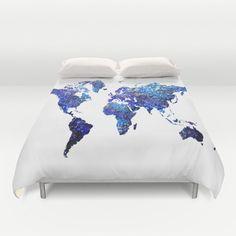 world map duvet cover/globe duvet cover/map by haroulitasDesign