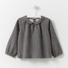 Polka dot flannel blouse