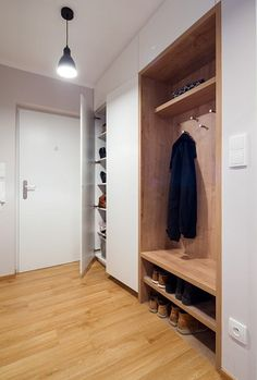 Concealed behind sliding door in hall so that it is hidden when the door is open and visible when shut. Hallway Closet, Hallway Storage, Entry Hallway, Home Entrance Decor, House Entrance, Entryway Decor, Flur Design, Hall Design, Hall Furniture