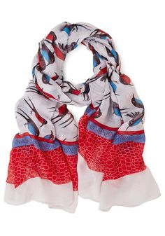 Chirp and At 'Em Scarf - Red, Blue, Black, Print with Animals, Casual, White, Multi, White, Bird, Woodland Creature