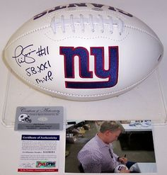 Phil Simms Autographed Hand Signed New York Giants Logo Football - PSA/DNA