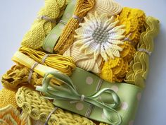 Vintage YELLOW and GREEN Assortment of Ribbons and Trims & Appliques - for Sewing - Crafts and Crazy Quilt Embellishments