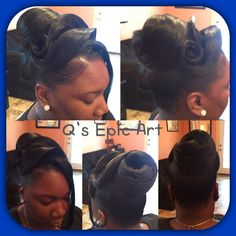 Epic Bun Style Black Hair Updo Hairstyles, My Hairstyle, Black Girls Hairstyles, Bride Hairstyles, Saree Hairstyles, Ethnic Hairstyles, Weave Hairstyles, Updo Styles, Ponytail Styles