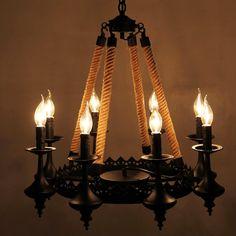 110v 220v Loft Iron Rope Pendientes Pendant Light Lampadari A Sospensione Retro Light Lampadario Vintage eclairage interieur #Affiliate