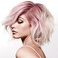 New Faded Pastel Hair; Blorange Hair Color In different hair color trends showed itself. Especially the red and orange tones started to rise among the hair color trends. Pink Short Hair, Blonde Hair Pink Roots, Blonde Rose Gold Hair, Colored Hair Roots, Pale Pink Hair, Blonde Pink, White Hair, Growing Out Hair, Pelo Bob