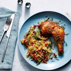 Persian-Spiced Chicken With Spaghetti Squash, Pomegranate, and Pistachios. Perfect fall recipe #tasty