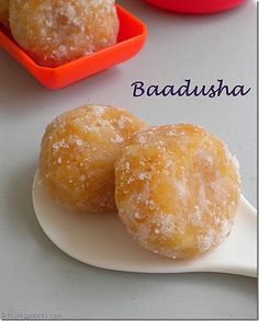 Baadusha, A sweet really fit for the king in my opinion. I just can't stop munching on these once I start which is why I try not to make these sugary little devils often and Sweet Dishes Recipes, Sweets Recipes, Snack Recipes, Cooking Recipes, Easy Recipes, Indian Dessert Recipes, Indian Sweets, Indian Snacks, Indian Recipes