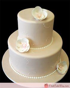 Anniversary Wedding Cake by Pink Cake Box 2 Tier Wedding Cakes, Elegant Wedding Cakes, Wedding Cake Designs, Wedding Cupcakes, Wedding Ideas, 50th Wedding Anniversary Cakes, Pearl Anniversary, Pink Cake Box, Pearl Cake