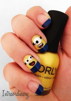 I so want this on my nails! :) nails 30 Beautiful and Unique Nail Art Designs Fancy Nails, Love Nails, How To Do Nails, Pretty Nails, My Nails, Style Nails, Diy Ongles, Do It Yourself Nails, Minion Nails
