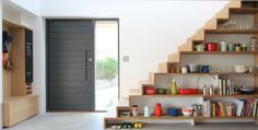 Gorgeous Staircase / Shelves from the AMAZING Corkellis House on featured on Grand Designs. Shelves Under Stairs, Staircase Bookshelf, Stair Shelves, Staircase Storage, Stair Storage, Modern Staircase, Staircase Design, Built In Storage, Staircase Ideas