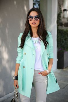 Rock Out Spring 2015 Trends   Colored Trench Coat in a soft Pastel Mint Green