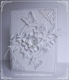 Elly's Card- Corner: Beautiful montochromatic card with floral and butterflies.