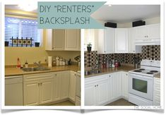 DIY Renters Backsplash with Vinyl Tile, removable backsplash. They used vinyl flooring tile and cut it into pieces, placed on sheets of plastic and then screwed into the walls.