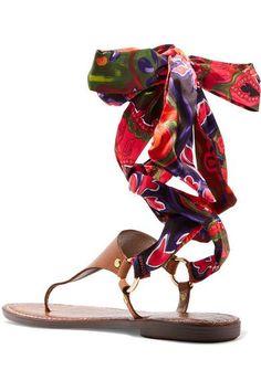 Sam Edelman - Giliana Leather And Printed Satin Sandals - Tan - US