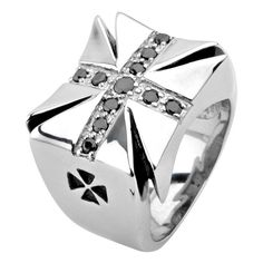 Stainless Steel Cross with Modern Gem Ring