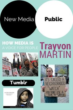 """Tumblr triggered a campaign called """"I am Trayvon Martin"""" which features African American civilians dressed up in a hoodie. This is an example of how new media is able to give a voice to those in need of a platform."""