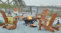 Adirondack Chairs around Fire Pit at the Beach. Shop the Look: http://www.beachblissdesigns.com/2017/01/beach-firepits-birch-lane-catalog-bliss.html