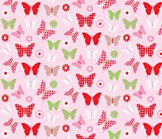 butterfly fly light pink background fabric by amy_frances_designs on Spoonflower - custom fabric