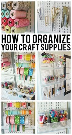 How To Organize Your Craft Supplies. Best ways to organize your craft room! Sewing Room Organization, Craft Room Storage, Organization Ideas, Craft Rooms, Craft Room Organizing, Paper Storage, Organizing Tips, Ribbon Storage, Storage Ideas