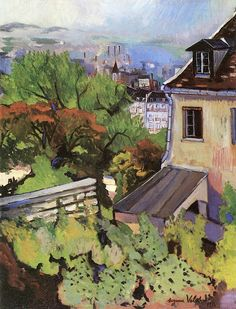 View from the Rue Cortot by Suzanne Valadon, 1916 Landscape Art, Landscape Paintings, Oil Paintings, Landscapes, Scenary Paintings, Villa Romaine, Maurice Utrillo, Street Art, Guache