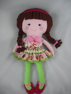 Dress up Doll Cloth Doll baby doll Strawberry Shortcake by cocomia, $45.00