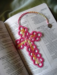 crocheted cross bookmark | Taming Roses: A Cross for a Lovely Girl on her First Communion Day...